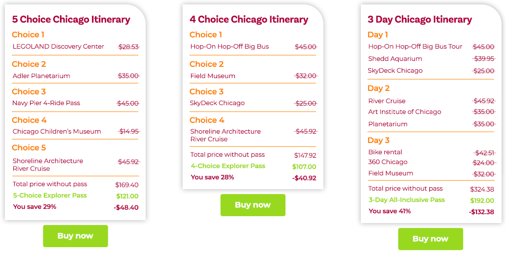 Chicago Itineraries