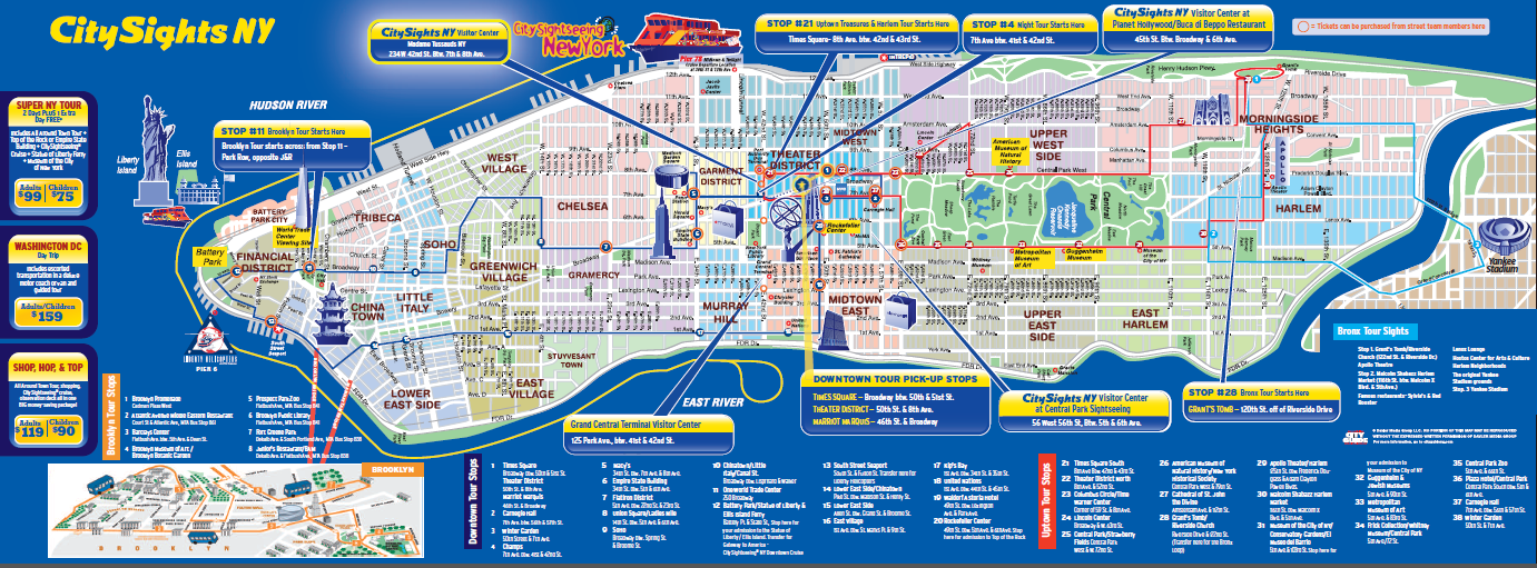 New york city attractions map for Attractions new york city