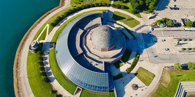 Brief description: The Universe is at least 91 billion light-years across. Come explore it at the Adler Planetarium! Located on Chicago's Museum Campus, along with The Field Museum and Shedd Aquarium, Adler is a top Chicago attraction for families from around the world.