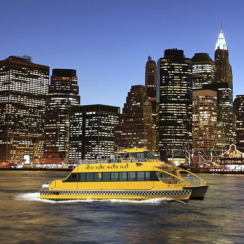 NY Water Taxi Statue By Night Cruise